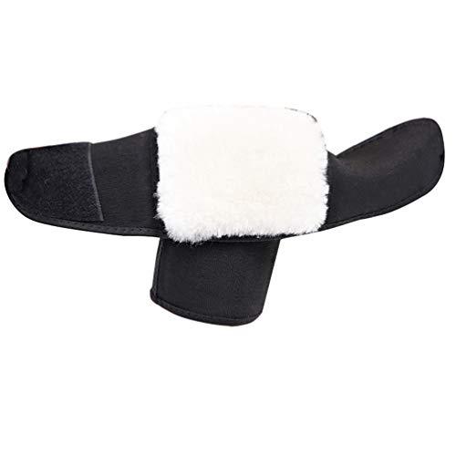 Angyu Synthetik Wolle Knieschützer Beinwärmer Erwachsene Komprimierte Knieschützer Warme Klettverschluss Gepolsterte Crushproof Knie Brace (Stil1,L)
