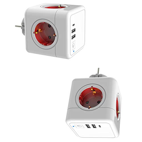 YLME EU Plug, Socket Adapter, Socket Cube, Travel Adapter - Travel Adapter - with 2 USB Ports - 1 Type C International Charger - 1 Switch (2 Pcs),Red
