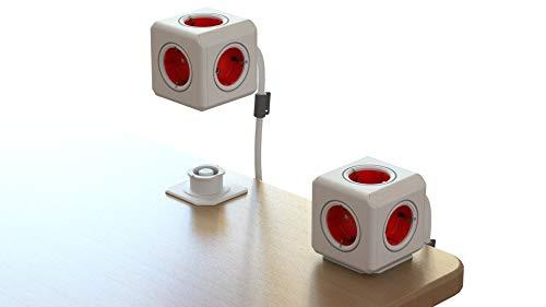 Regleta Multi-Cubo Extended 3m, ladrón con 5 enchufes no superpuestos, Adaptador de Escritorio y con Cable alargador de 3m, Estilo Schuko de 230 V, Rojo/Blanco