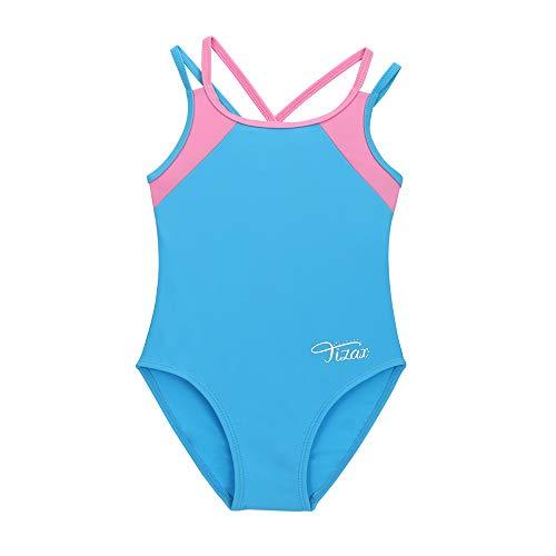 TIZAX Bañador de una Pieza para niñas Traje de baño con múltiples Correas y Espalda Cruzada sólida Secado rápido UPF 50+ Azul 6 años