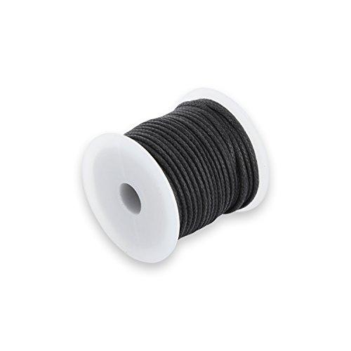 Auroris 10m Rolle Baumwollband rund 2mm Farbe: schwarz