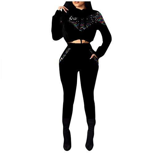 jiumoji - Conjunto de Ropa de Gimnasia clásico con Lentejuelas y cordón, Manga Larga, Sudadera con Capucha, Pantalones de Cintura, Ropa de Ocio, para Mujer, Negro, Pequeño