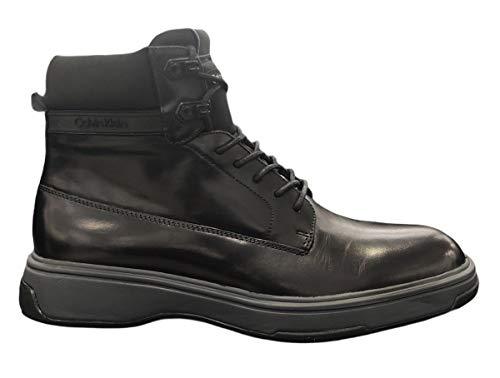 Calvin Klein Scarpe Sneakers Alte alla Caviglia Uomo Pelle Nera B4F1173 Black N.45