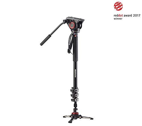Manfrotto XPRO+ Einbeinstativ (4 Auszüge, Aluminium Video-Einbein, Schnellverschluss, Fluid Videokopf und Basis, für professionelle Videografen und Camcorder bis 5 kg, MVMXPRO500)