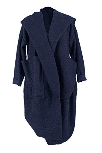 TEXTURE Ladies Womens Italian Lagenlook Long Sleeve 3 Way Twist 2 Pocket Teddy Boucle Knit Cocoon Coat Cardigan Jacket One Size (Navy, One Size)