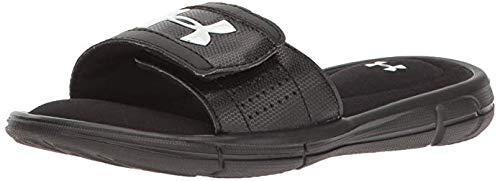 Under Armour Boys' Ignite V Slide Sandal, Black (001)/White, 4