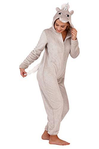 Loungeable Damen Einteiler, Fleece, mit Kapuze, Ganzkörper-Bademantel, Größe XS / L Gr. X-Large, Sparkle – Silber