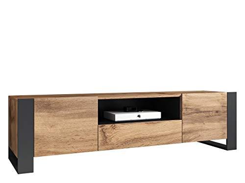 Mirjan24 TV Schrank Weelo, Praktischer Fernsehschrank mit Schublade, TV Lowboard mit Grifflose Öffnen, TV-Bank, Sideboard, Wohnwand (Wotan/Anthrazit)