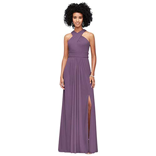 David's Bridal Crisscross High-Neck Mesh Bridesmaid Dress Style F19952, Wisteria, 18