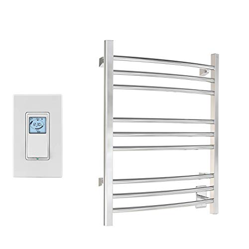 WarmlyYours 9-Bar Riviera Towel Warmer, Hardwired, Polished Stainless Steel