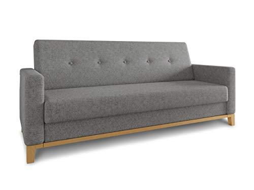 Sofa Wood mit Schlaffunktion - Schlafsofa mit Bettkasten, Bettsofa, Massivholz, Polstersofa mit Holzfüße, Couchgarnitur, Couch (Grau (Twist 21))