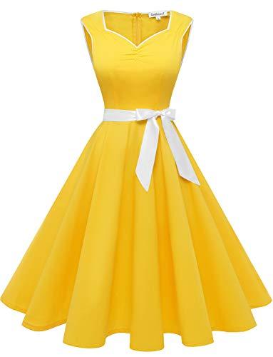 Gardenwed Mujer Retro Años 1950s Vintage Vestido de Cóctel Vestidos Corto Fiesta 50s 60s Rockabilly Yellow XS