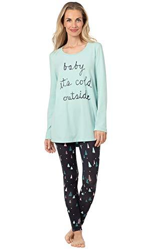 Addison Meadow Winter Pajamas for Women - Christmas PJs Women, Aqua, L, 12-14