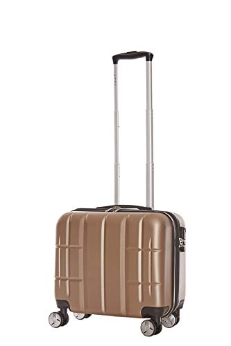 LYS - Pilot Case Rigide 44 CM Sacoche à roulettes Trolley Cabine, Valise d'affaires Bagage 4 roulettes Doubles 360° pour Ordinateur Portable et des Documents (Taupe)