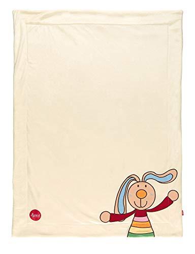 sigikid, 41559 Enfant Mixte Couverture Microfibre 100x75 cm, Rainbow Rabbit Ecru