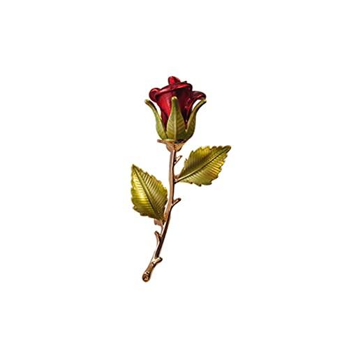 TYYLCZF Broches para mujer con diseño de rosa vintage, broche de flores, broches y alfileres para bodas, fiestas, accesorios de traje occidental, regalo (color: rojo)