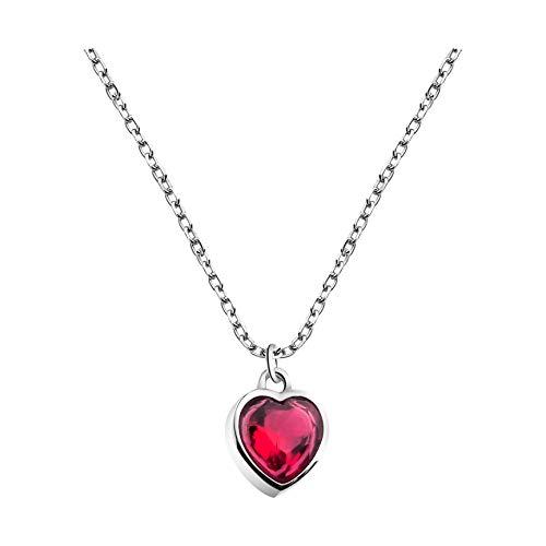 SOFIA MILANI - Collar para Mujeres en Plata de Ley 925 - con Piedra de Circonio - Colgante Corazón Rojo - 50324