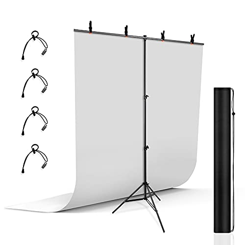 UTEBIT T-Form Hintergrund Ständer mit 5x6.5ft Photography Background Weiss und 4 Stück Klemmzwingen für Studio Hintergrundsystem Tragbar Verstellbarer 2m Fotohintergrund...