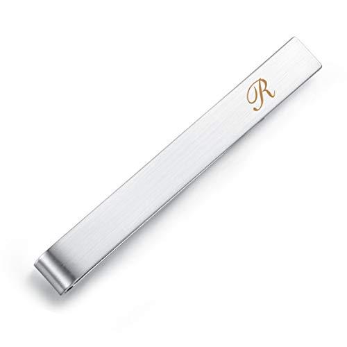 HONEY BEAR Clip de alfiler de Corbata - Letra Inicial del Alfabeto Tamaño Normal/tamaño Estrecho para Corbata de Hombre, Regalo de Negocios para Bodas, 5,4 cm / 4 cm, Plata cepilla (R 2.13 Inches)