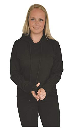 Green Cat Kurzer Damen Hoodie, Bio-Baumwolle und Oeko-TEX Zertifiziert, Textilfarbe: schwarz, Gr.: S