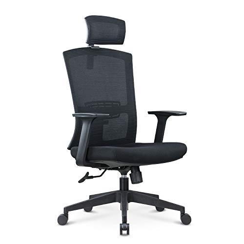 JIANHE オフィスチェア 人間工学椅子 調節可能 な腰サポーとヘッドレストと 厚手 座面 130度リクライニングチェア 搖りチェア パソコンチェア デスクチェア ハイバック事務椅子 メッシュチェア U-037A (ブラック)