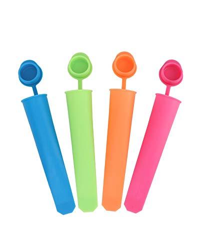 LUUCKFY 4 Piezas Silicona Tapas De Moldes para Paletas De Hielo Vistoso Paleta De Mano Reutilizable para Cocina DIY