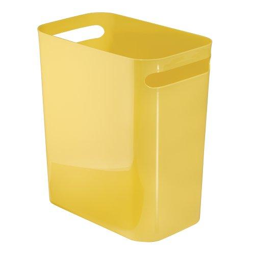 Una Papelera de reciclaje con asas, cubo de basura de plástico, papelera de oficina, cocina o baño, amarillo