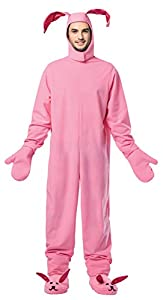 Includes pink adult sized jumpsuit with mittens headpiece and shoe covers Fits comfortably to be worn all night at a party.