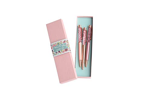Pen Gift Set for Women - 3 Rose Gold Big Diamond Pen with Crystals in a Gift Box, Fancy Ball Point Black Ink/Medium Point, Great Writing Pens (Pink Box, Rose Gold, Pink, Peach)