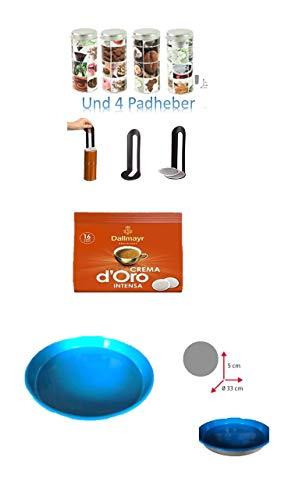 pad Dallmayr Crema D'oro Intensa Kaffe 116g -1 x 16 16 Kaffee, Kaffeepaddose 18 4er Set mit Padlifter + Tablett BB
