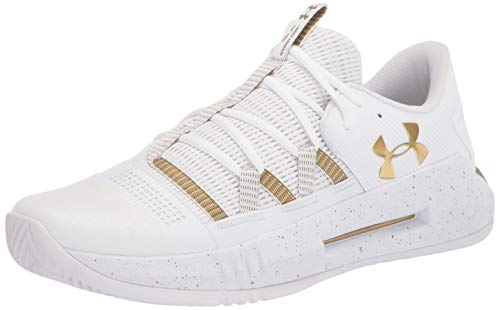 Under Armour Men's Block City 2.0 Volleyball Shoe, White (100)/Metallic Gold, 6