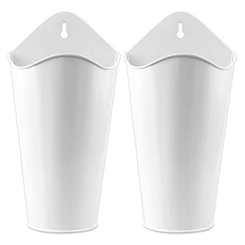 YiYa 2PCS maceteros de Metal para Pared decoración de jarrón Colgante de Metal para Plantas de imitación o suculentas decoración rústica de Granja decoración la Pared del hogar, Blanco
