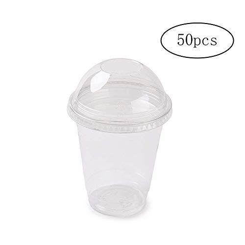 CDKJ 50 Vasos de plástico Desechables La Parte Dividida con Tapa de la Taza del Tiro Souffle Copa Jello