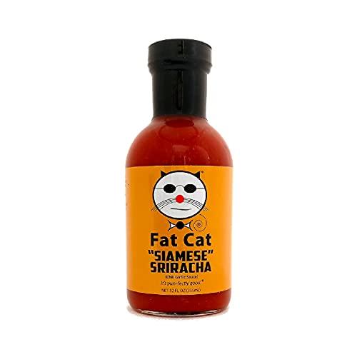 Fat Cat Gourmet - Siamese Sriracha w/ Chili Garlic Sauce - Sweet & Savory Chili Flavor - Gluten Free, Vegan & Keto Friendly - Medium Heat, 12 oz glass bottle (3 Pack)