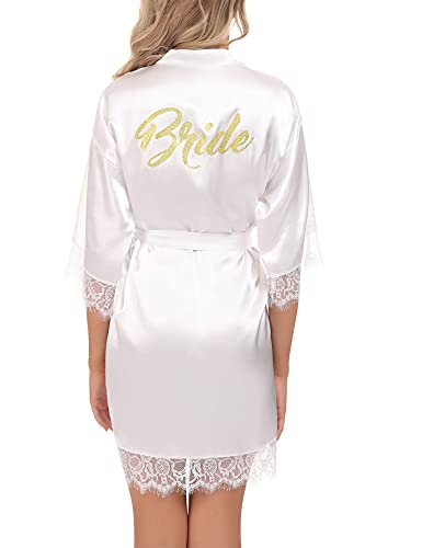 Aseniza Damen Morgenmantel Braut Bademantel Hochzeit mit Spitze Satin Kimono Robe Kurz Nachthemd für Braut Brautjungfern Hochzeit Party ,Weiß-Braut,L