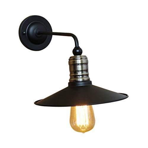 Retro wandlamp loft Industriële stijl gang decoratie wandlamp creatieve zwart metalen wandlamp E27 Schroef Verlichting 22CM,Black