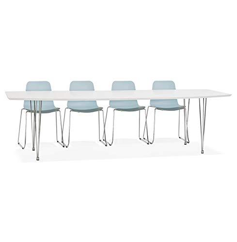 Alterego Table à dîner Design Extensible 'HUSKI' Blanche avec Pieds chromés - 170(270) x100 cm