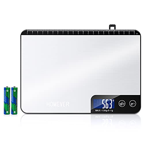 HOMEVER Balanza de Cocina, Balanza Digital Profesional de 15 kg con Pantalla LCD Altamente Sensible, Acero Inoxidable y Función de Regla para Hornear, Medición Precisa de 1 g / 0.1 oz