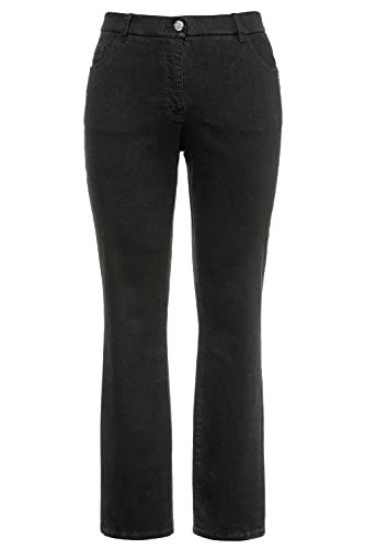 Ulla Popken Damen Mandy, 5-Pocket, Komfortbund, gerades Bein Jeans, Schwarz (schwarz 10), 48