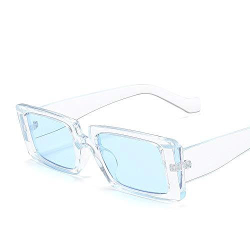 NJJX Gafas De Sol De Diseñador De Marca De Lujo Para Mujer Gafas De Sol De Montura Pequeña Y Estrecha Mujer Hombre Gafas De Sol Retro Gafas De Sol Uv Transparente Azul