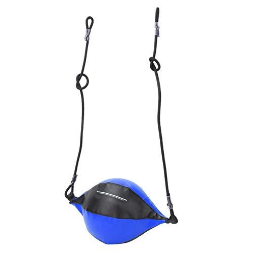 Qqmora Palla da Boxe Gonfiabile in Pelle PU di Alta qualità Facile da Appendere, Pratica di Boxe, Attrezzatura da Allenamento(Black Blue)