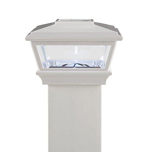 """White Solar LED Post Light Cap 4.5"""" x 4.5"""" for Bridges, Fences, Decks, & Posts"""