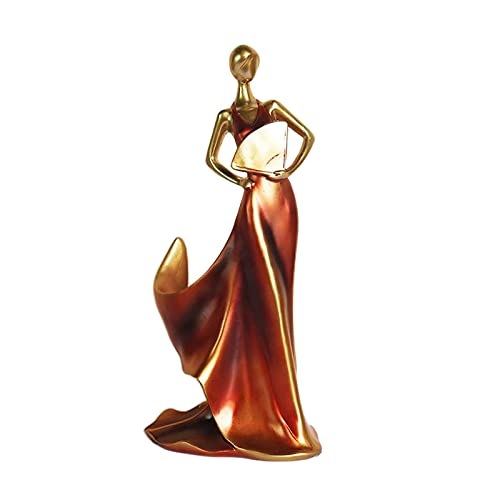 Esculturas Decoración, estatuas de Belleza Figuras coleccionables Adornos Resina Estante para Vino Artesanía Ventilador Belleza Soporte para Almacenamiento de Vino Centros de Mesa - Rojo, Duradero