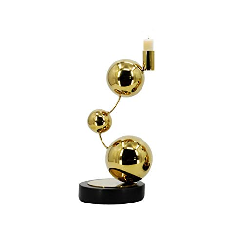 XMSIA Decorative Candle Holders Set Candlestick Ornaments Golden Stainless Steel Nordic Table Decoration Romantic Simple Modern Light Luxury Candlestick for Wedding, Dinning, Party