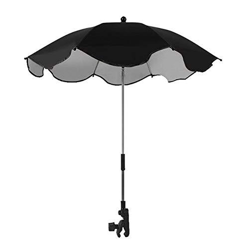 Sillita Abrazadera Universal de protección Solar Universal Paraguas Cochecito de bebé Paraguas Paraguas Sombra UV Sombrilla for Silla de Paseo para Paraguas al Aire Libre (Color : Black)