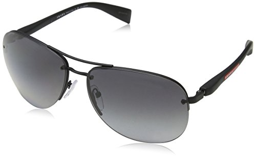 Prada Linea Rossa 0PS 56MS Black Rubber/Polarized Grey Gradient One Size
