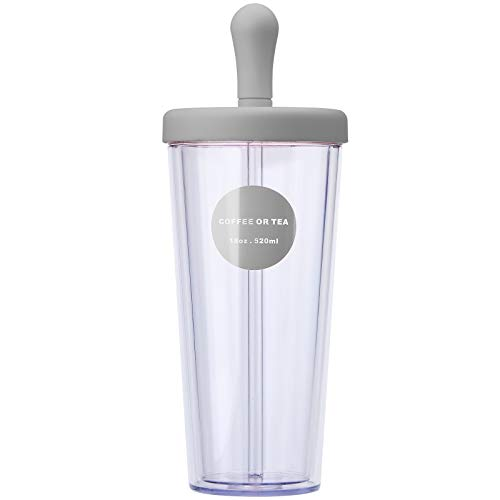 Bainuojia Doble Capa Vaso de plástico con Paja y Tapa,Tapa de PP Reutilizable 100% Libre de BPA para Uso Doméstico,Gris 520ml