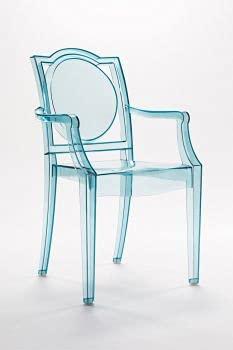 LA16 GHOST 20LA100 - Silla transparente con reposabrazos de policarbonato, juego de 6 sillones, color azul