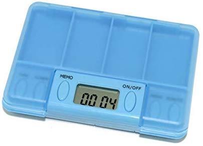 CaiJJ elektronische tablettendispenser met 4 vakken, 6 toetsen-timer voor pillendoos voor buiten reizen, blauw Rosa Roja