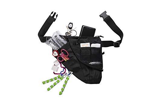 KangaPak Nursing Organizer Belt - New Microfiber Design - 9 Pocket Utility Pouch for Stethoscopes, Scissors and Other Medical Supplies (Black)